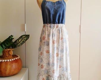 Upcycled Dress, Pinafore Dress, Apron Dress.  Shabby Chic Boho Gypsy Dress, Denim Dress, Floral, Medium/Large