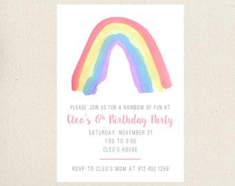 Rainbow Birthday Invitations, DIY