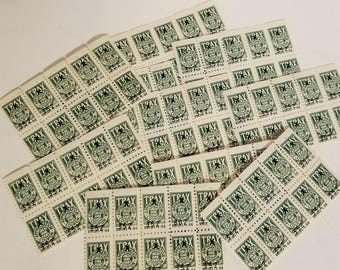 100 savings trading stamps TRAX green color 10 pieces sheets of 10 Vintage paper supplies ephemera scrapbook art
