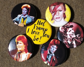 "David Bowie a 6-1.25"" Set Pin Back Button Ziggy Stardust, Hot Tramp, Magnet"