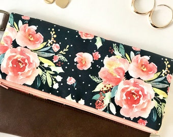Clutch, Foldover clutch, Vegan Clutch, Foldover Bag, Evening clutch, Wristlet purse, Gift for Her, Valentines Day, Bridesmaid Gift
