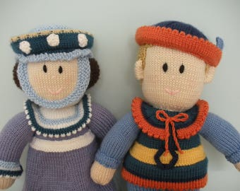 Hand Knitted Prince and Princess Dolls