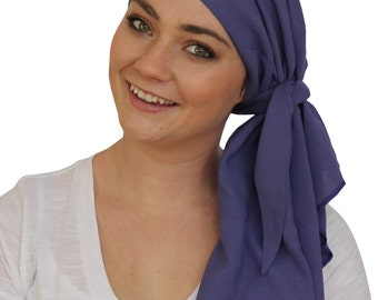 Carlee Pre-Tied Head Scarf, Women's Cancer Headwear, Chemo Scarf, Alopecia Hat, Head Wrap, Head Cover for Hair Loss - Purple