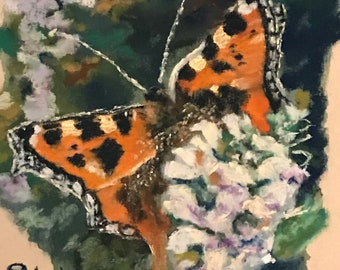 Pastel and Acrylic Painting Featuring Butterfly and White Lilac Flowers