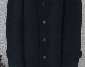 "50s60s Vintage ""Kaiser""  Charcoal Wool Guys' Coat — Size Large"