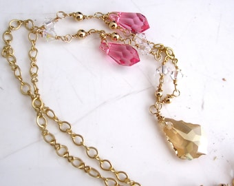 Pink and Gold Swarovski Crystal Necklace