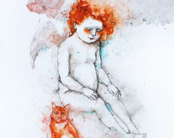 Watercolor painting Angel guardian with a cat Angel watercolor illustration Orange cat drawing Cat art Angel watercolor portrait