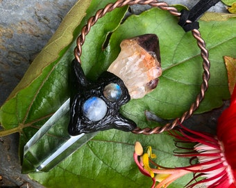 Phantom Spirit Quartz, Clear Quartz, Moonstone and Labradorite Pendant