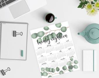 Printable 2018 Desk Calendar - Year at a Glance Calendar - Eucalyptus - 8.5x11 Desk Calendar - Eucalyptus Calendar