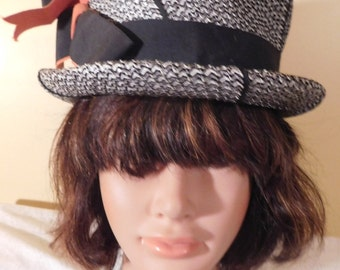 Vintage Bucket Hat Black Silver White Houndstooth