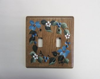 Double Switch Plate  Wood Switch Plate  with Blue flowers