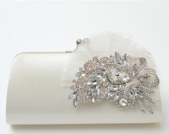 Rhinestone Bridal Clutch in Ivory - Bridesmaid Clutch - Formal Clutch - Rhinestone Clutch - Medium Size - SALE