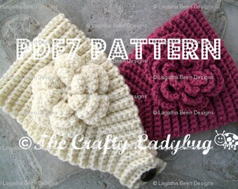 Textured crochet headband pattern with flower - PDF7 instant download
