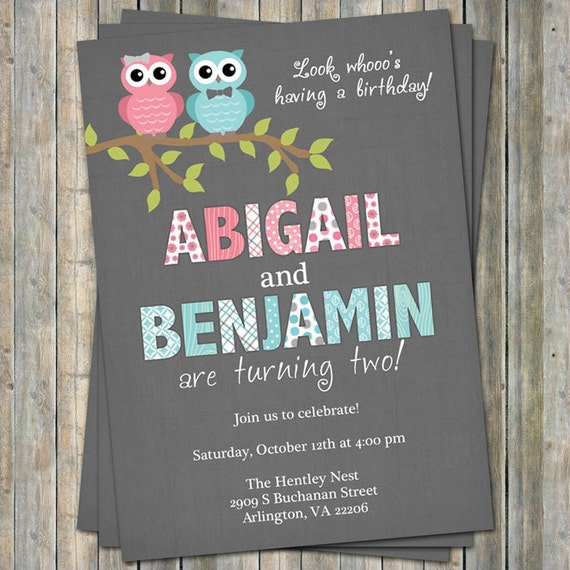 Twins birthday party invitation with owls boygirl twins