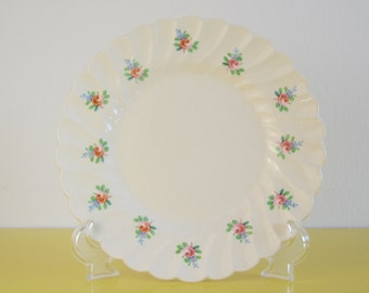 Vintage Floral Plate, SALE, Myott Olde Chelsea Scallop Edged Plate, Vintage Shabby Chic Plate, Retro Floral Side Plate, Pink Flower Pattern