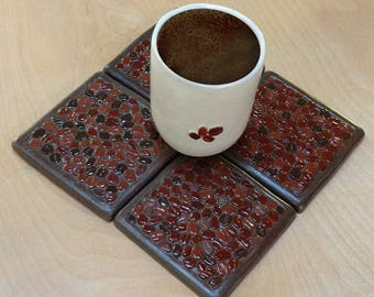 Coffee Lovers Coaster Set of 4, coffee bean multi colored,dark rich colors