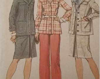 UNCUT and FF Pattern Pieces Vintage Simplicity 6233 Sewing Pattern Size 18 Bust 40 Unlined Suit and Pants Suit