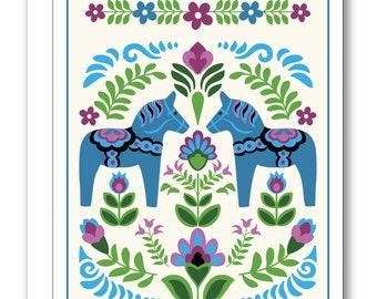 Swedish Folk Design Greeting Card BP36