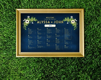 The ALYSSA . Seating Chart Alphabetical Wedding Sign Printed . Anemone Magnolia Garland Emerald Green Olive Branch Gold & Navy Chalkboard