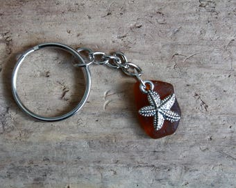 Starfish Keychain, Sea Glass Keyring, Nautical Gift, Sea Theme Jewellery, Charm Keychain, Irish Gifts, Beach Accessory, Sealife Jewelry