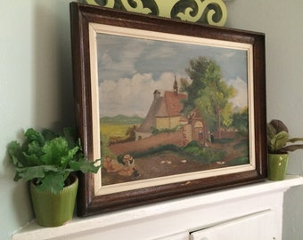 VINTAGE DECOR...rustic painting church building architecture - European town - framed art signed original oil