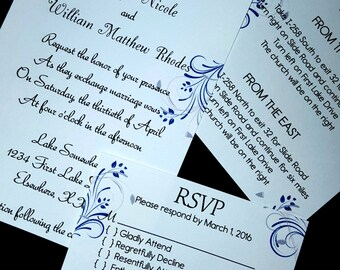 7 Piece Flower Wedding Invitation Set, Return Address Printing Included, Complete and Ready to Use