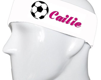 Personalized Soccer White Headband