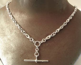 Genuine SOLID 925 STERLING SILVER Albert Chain Necklace with T Bar and Swival Clasp