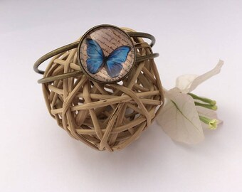 Bronze blue butterfly bracelet and writing Creananas jewelry •