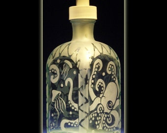 Octopus and Jellyfish Recycled Glass Sandblasted Soap Dispenser