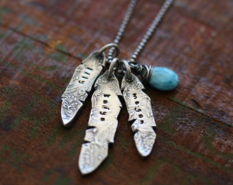 Warrior Heart Neacklace hand stamped sterling silver feather necklace