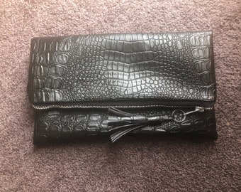 Vegan Leather Croc Fold-over Clutch Purse