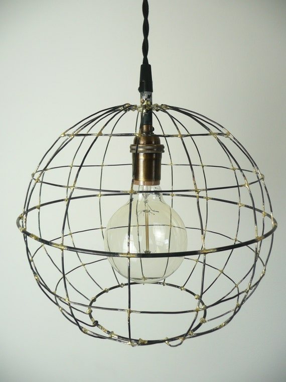 orb pendant light sphere hanging light round metal caged. Black Bedroom Furniture Sets. Home Design Ideas