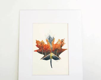 Fall Leaf Watercolor Print, Fall Decorations, Halloween Decorations, Decor, Autumn Decor, Foliage