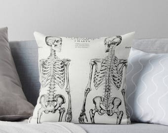 Throw Pillow Cover: vintage skeleton medical chart Halloween front porch decor