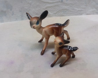 """Antique MINI 2"""" DOE and 1""""FAWN Deer Figurines. Circa 60's."""