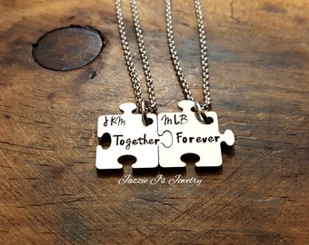 Together Forever Puzzle Necklace Set, Couples Puzzle Necklace Set, Sisters Jewelry, Best Friend Jewelry, Family Puzzle Necklaces