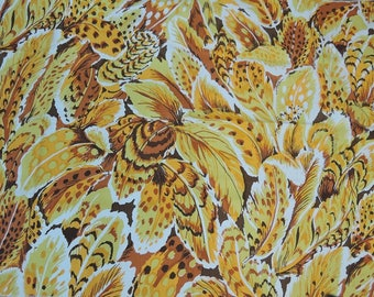 Vintage Yellow & Gold Feather Print Fabric, 48x26 inches, Vintage Decorator Sample
