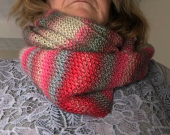 Hand Knitted Infinity Scarf by BritKnitWits - Pinks and Grey     Free Shipping