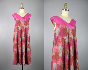 Vintage 1960s Cotton Hawaiian Dress 60s Pink Leaf Print Tent Dress by Panelas Size M/Open