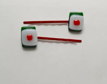 Green White and Red Bobby Pins.