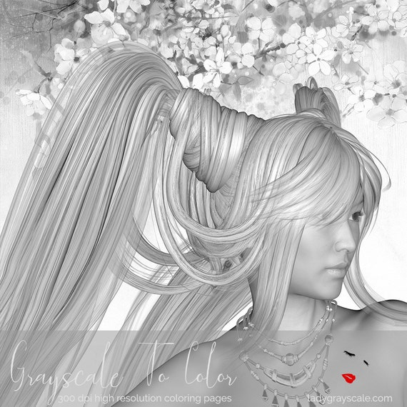 Grayscale Lady Coloring Page Greyscale For Adults