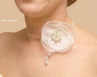 Flower wedding necklace wedding costume jewelry ivory organza ribbon
