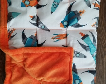 4lb Rocket ship and minky weighted lap pad READY TO SHIP