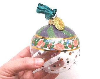 Beautiful! Mackenzie-Childs Glass Ornament Hand-painted, c1980's