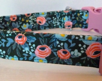 """Rifle Paper Dog Collar -Girl Dog Collar - Vintage Blue with Pink Flowers on Hunter Green Collar -""""Abby"""" - Free Colored Buckles"""