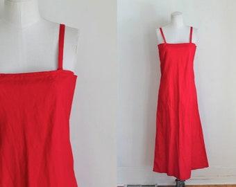 vintage 1920s dress - SCARLET bright red cotton slip dress / S