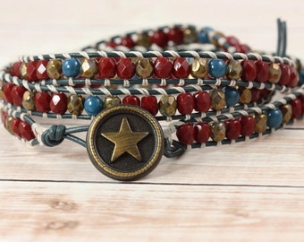 Patriotic Jewelry Red Wrap Bracelet Red White Blue Brass Star Bracelet Western Jewelry Skinny Wrap Bracelet Americana 4th of July Election