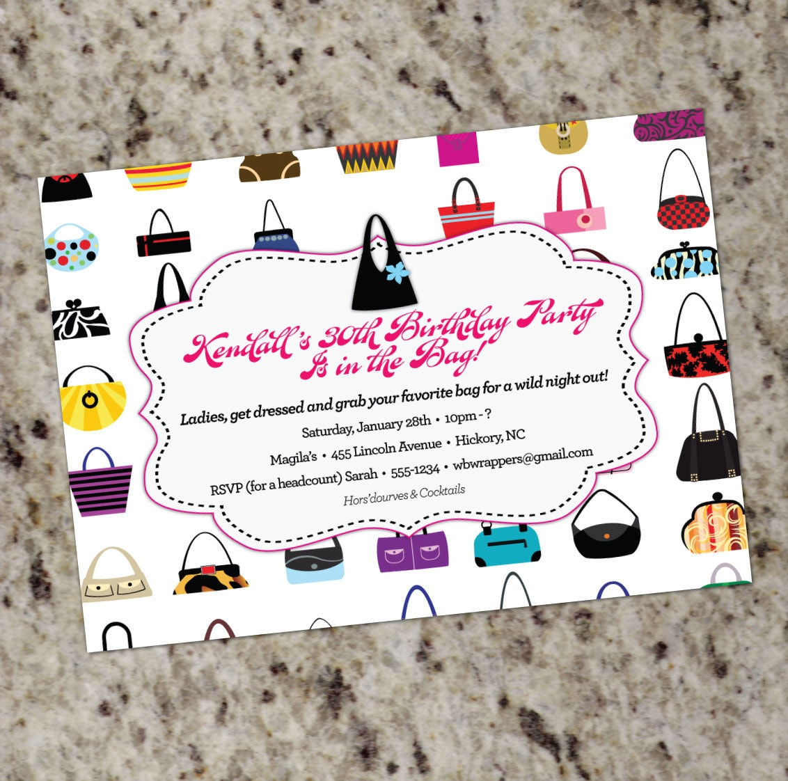 HANDBAGS GALORE Purse themed Invitations Any Occasion