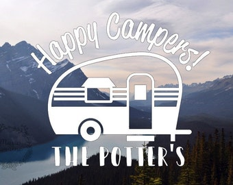Happy Campers Personalized Decal - Personalized Decal - Happy Camper - Camper Decal - RV Decal - Home Decal - Car decal - Wanderlust